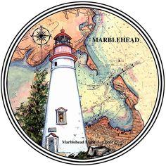 Marblehead, OH Conjunto de 4 Posavasos