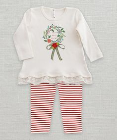 Another great find on #zulily! Ivory & Red Holly Wreath Tunic & Leggings - Infant #zulilyfinds