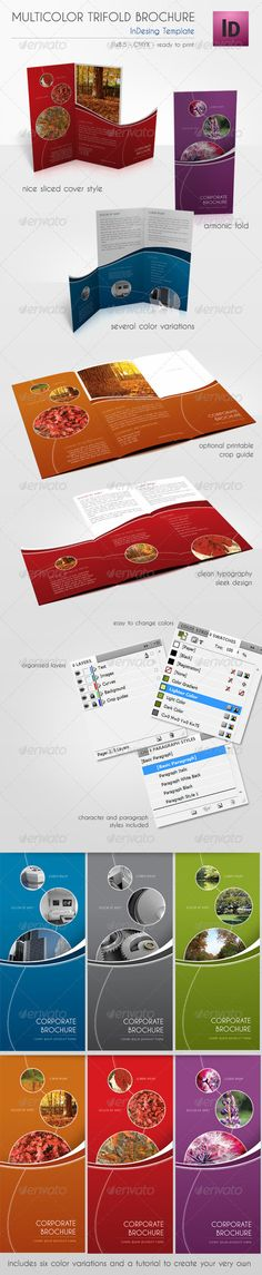 Multicolor Trifold Brochure Corporate Brochure Template by alvarocker. Yearbook Pages, Yearbook Layouts, Yearbook Design, Yearbook Spreads, Corporate Brochure Design, Brochure Layout, Magazine Layout Design, Magazine Layouts, Publication Design
