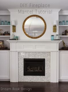 diy fireplace mantle. A great tutorial to build your own fireplace mantle from scratch on dreambookdesign.com