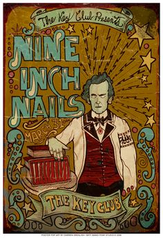 Original concert poster for Nine Inch Nails at The Key Club in Cabazon, CA in 13 x 19 inches. Artwork by Darren Grealish. Musik Illustration, Illustration Photo, Tour Posters, Band Posters, Festival Posters, Concert Posters, Music Artwork, Art Music, Norman Rockwell