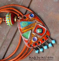 Art Nouveau Hippie - Artisan Copper Enamel Art - Necklace - enameled copper and lampwork beads - by Michou P. Anderson