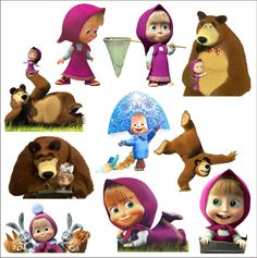 Set of 10 Masha And The Bear Stickers Decal Colour Vinyl Car LapTop Baby Toy | eBay