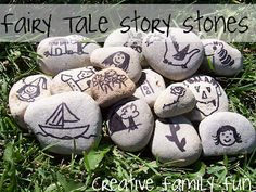 Story Stones - pick a stone and write/tell a story. This would be great for kids to make, then switch for story writing.