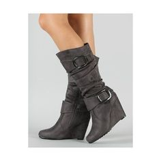 Amazon.com: Slouchy Buckle Knee High Wedge Boot Vegan Grey: Shoes ($35) via Polyvore