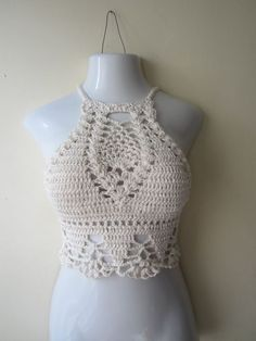 HIGHNECK CROPPED TOP Crochet cropped halter top by Elegantcrochets