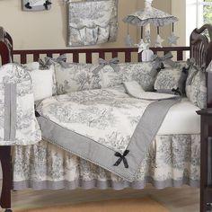 Black and white vintage crib set