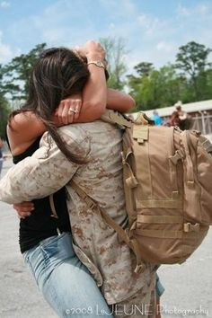 proud marine wife for 5 years...this is one of the best days in your life. A day to be thankful for bc some do not get this day....being this happy...my picture is better though :)