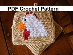 Chicken Potholder PDF Crochet Pattern - Graph and Written Instructions - Color Change Crochet - Double Crochet