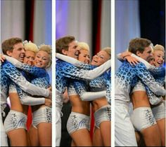 Cheer Athletics Cheetahs Matt Smith, Jamie Andries, and Peyton Mabry after day 2 of Worlds 2013