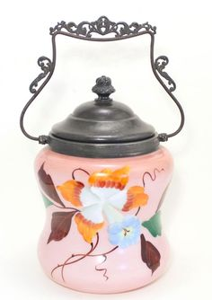 Victorian Hand Painted Biscuit Jar! Good condition. Some small pieces of the metalwork at the top of the handle are broken / missing. The glass has no breaks or cracks.   eBay!