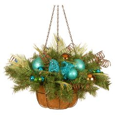 National Tree Company 22 in. Peacock and Fern Tip Decorative Hanging Christmas Basket - DC3-173-22H
