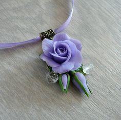 Purple rose necklace pendant handmade, polymer clay necklace, flower necklace, realistic flower necklace by OlgaSamigulina on Etsy https://www.etsy.com/listing/291560723/purple-rose-necklace-pendant-handmade