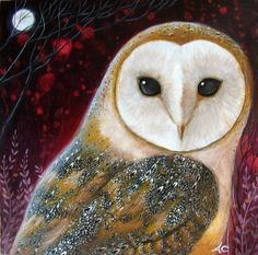Art print titled 'The Owl' from an original painting by Amanda Clark on Etsy