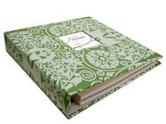 GIRL Modern Baby Memory Book (Whimsy Pink Design, Green Pattern Cover 9.25 x 9.5). $65.00, via Etsy.  Buy in bloom pattern. baby