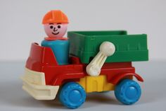 Vintage Fisher Price Little People Figure with Vehicle Construction Dump Truck Toy by LittleShopofWhatNots on Etsy