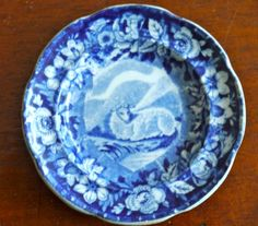 VERY RARE A STEVENSON PEARLWARE BLUE AND WHITE TRANSFERWARE CUP PLATE SHEEP