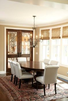 White + brown trim Dining - traditional - dining room - minneapolis - by Stonewood, LLC
