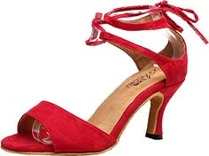 Salabobo QQQ5012 Womens Wedding Party Tango Peep Toe Customize Heel Lint Dance Shoes Red US 82IN *** Find out more about the great product at the image link.