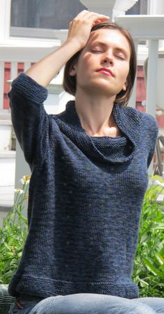 Comfy Cowl Neck Pullover, knitted in stockinette stitch from the bottom up with knitted in or sewn in cap sleeves. PDF knitting pattern