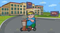 A Bored Overweight Man On A Scooter At Outside Of A Hotel:  A fat man with dark brown hair wearing a sky blue shirt green pants yellow visor violet with white sneakers frowns while riding a brown scooter with basket and four wheels right hand placed on the handle bar. Set in view from outside the hotel with yellowish beige walls green glass windows a round driveway and grass surroundings.