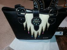 MONTANA WEST CONCEALED CARRY PURSE SOUTHWEST ART WITH TURQUOISE CONCHO TOTE HANDBAG