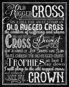 "Mounted Art: ""The Old Rugged Cross"" Hymn chalkboard 16x20"