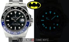 """Gotham Needs You!"" #Rolex 40mm GMT-Master II Black & Blue Batman Ref#: 116710  ($8,775.00 USD) http://www.elementintime.com/Rolex-GMT-Master-II-Midnight-116710-Stainless-Steel-NIB"