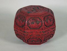 Box with Daoists welcoming immortal Shoulao, Qing dynasty (1644–1911), 19th century. Carved red and green lacquer. H. 9 in. (22.9 cm); W. 11 1/4 in. (28.6 cm). Bequest of Stephen Whitney Phoenix, 1881, 81.1.610a, b © 2000–2016 The Metropolitan Museum of Art.
