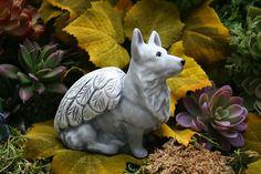 Dog Angel Statue Corgi Angel Dog Memorial by PhenomeGNOME