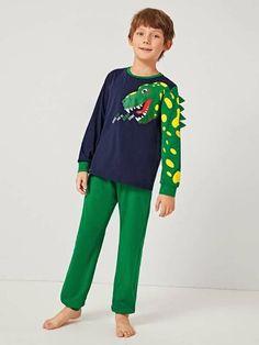 Boys Cartoon Graphic Triangle Trim Top And Pants PJ Set – Agodeal Boys Sleepwear, Boys Pajamas, Pyjamas, Satin Pj Set, Pj Sets, Printed Tank Tops, Spandex Material, Pajama Set