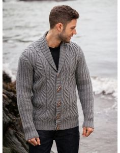 Mens Cabled Shawl Collar Cardigan with Ribbed Sleeve - http://www.aransweatermarket.com/gents-knitwear/cabled-shawl-collar-cardi-rib-sleeve
