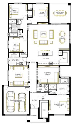 Floorplan - kitchen, living, meals, theatre, main bed etc. Take out lounge and theatre room. Make garage school room. Put shop on left side? House Layout Plans, Family House Plans, Best House Plans, Dream House Plans, House Layouts, House Floor Plans, Single Storey House Plans, Carlisle Homes, Indian House Plans