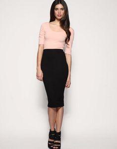 ASOS Jersey Pencil Skirt Design with a simple sleve shirt. Fitted Skirt, Dress Skirt, Modest Outfits, Cute Outfits, Pencil Skirt Outfits, Pencil Skirts, Asos, Work Attire, Dresses For Work