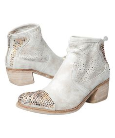 This Silver Metallic Leather Galene Studded-Toe Ankle Boot is perfect! #zulilyfinds
