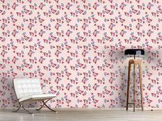 Design #Tapete Streublumen Auf Rosa