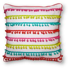 Could be an easy DIY- Pom Pom Throw Pillow - Pillowfort™ Decorate Lampshade, Stencils, Colorful Throw Pillows, Comfortable Pillows, Cricut, Fancy, Reading Nook, Creative Kids, Kid Beds