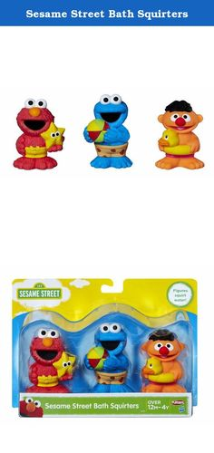Sesame Street Bath Squirters. Cookie Monster, Ernie, and Elmo are wearing their swim trunks and ready to play! These collectible Sesame Street squirt toys are sure to make bath time lots of fun. Squeeze the figures underwater to fill them up, then squeeze again to send water jetting across the tub. Sesame Street and associated characters, trademarks and design elements are owned and licensed by Sesame Workshop. Hasbro and all related terms are trademarks of Hasbro. .