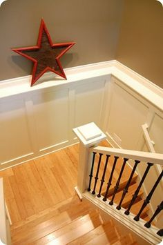 """Texas Leather by Benjamin Moore-- our house colors! Dark floors light cabinets and white trim. All """"community"""" areas of our home :) can't wait to start!"""