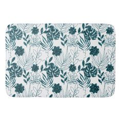 Teal Tropical Monstera Botanical White Leafs Palm Bathroom Mat Majestic Monstera Leaf products gifts and home goods featuring the giant leave called Monstera. Urban Nature, Bathroom Mat, Glitter Gifts, Leaf Art, White Glitter, Floral Style, Paper Goods, Personalized Gifts, Unique Gifts