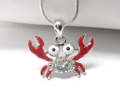 WHOLESALE WHITE GOLD PLATING CRYSTAL AND METAL EPOXY CRAB PENDANT NECKLACE