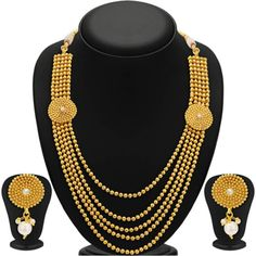 Gold plated Bridal Jewellery Set for women at Mirraw.com