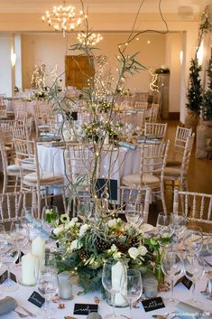 A Wilde Bunch winter wedding design at Coombe Lodge taken just as the light outside began to fade to show the warming effect of all the illuminations in the table centres. Lodge Wedding, Wedding Venues, Table Centers, Wedding Designs, Wedding Ideas, Wedding Season, Wedding Flowers, Table Settings, Table Decorations