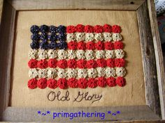 Barnwood  Framed Americana Yo Yo  Flag  Primitive Country Decor Farmhouse Patriotic. $39.99, via Etsy.