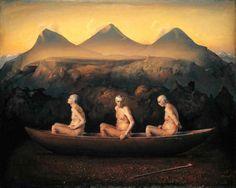 Tres hombres en el amanecer. Odd Nerdrum, 1996. Nerdrum Museum, The Nerdrum School. Stavern, Noruega.