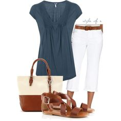 OUTFIT:  Casual Capri, Blue & Tan, Mild Weather