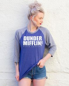Dunder Miiflin The US Office Blue/Grey by AsSeenOnApparel on Etsy