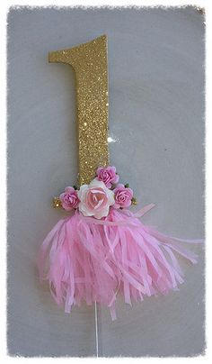 Birthday Decoration Shabby Chic Number Gold Glitter by JeanKnee