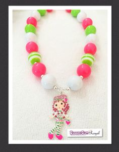 Our Strawberry Shortcake Inspired Bubblegum Bead Necklace with white, pink and green beads and featuring a rhinestone strawberry shortcake pendant is just $18 including shipping (untracked) anywhere in Australia. More designs available at www.bubblegumroyal.com