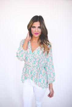 Dottie Couture Boutique - Peach/Teal High-Low Blouse , $36.00 (http://www.dottiecouture.com/peach-teal-high-low-blouse/)
